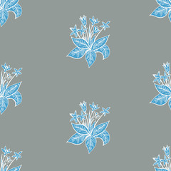 seamless vector pattern with snowdrop flowers