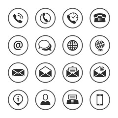 Contact icons buttons set