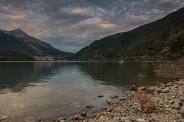 Molveno lake at sunset, Italy;