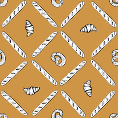 hand drawn bakery seamless vector pattern