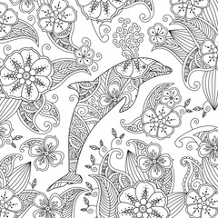 Coloring page with one jumping dolphin on floral background.