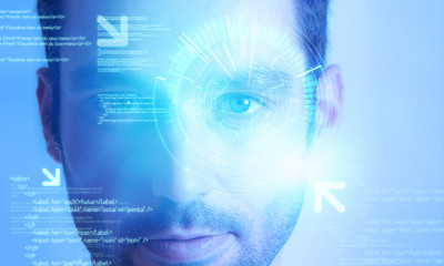 Futuristic technology user interface with an user eye on the bac