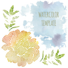 Ornate floral flyer with flowers. watercolor background. template for card, poster, leaflet.