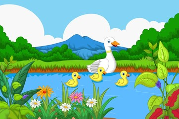 duck cartoon swimming in lake with landscape background