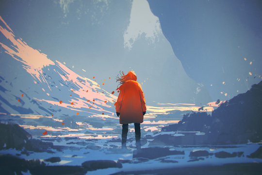 rear view of woman with orange warm jacket standing in winter landscape,illustration painting