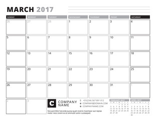 March 2017. Calendar Planner for 2017 Year. Week Starts Sunday. Black and White Color Theme. Stationery Design