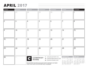 April 2017. Calendar Planner for 2017 Year. Week Starts Sunday. Black and White Color Theme. Stationery Design