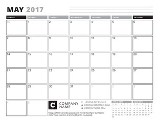 May 2017. Calendar Planner for 2017 Year. Week Starts Sunday. Black and White Color Theme. Stationery Design