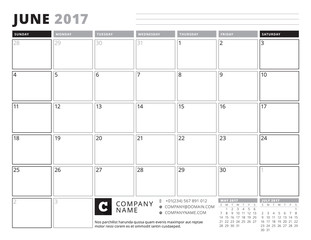 June 2017. Calendar Planner for 2017 Year. Week Starts Sunday. Black and White Color Theme. Stationery Design