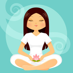 girl meditating with a lotus flower in her hands