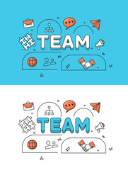 Linear Flat TEAM human silhouettes icons image vector Business