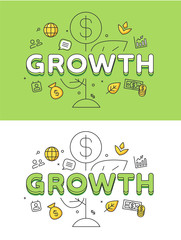 Linear Flat Business Strategy GROWTH plant coin image vector