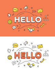 Linear Flat HELLO chat bubble vector image network communication