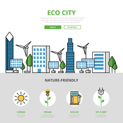 Linear flat Eco city mockup image vector Ecology nature resource