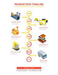 Flat isometric 3d Business Product Timeline Infographics vector