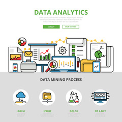 Linear flat business Data analytics infographics vector
