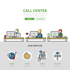 Linear flat User support Call center infographics vector.