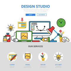 Linear flat design studio workplace infographics vector