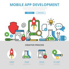 Linear flat mobile app development infographics website vector