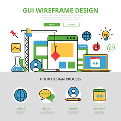 Linear flat infographics template vector. GUI wireframe design