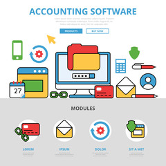 Linear flat Accounting software app infographics vector