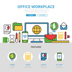 Linear flat Office workplace infographic vector Technology