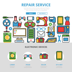 Linear flat Repair service infographics vector Kitchen computer