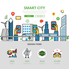 Linear flat Smart city app infographic vector Mobile application