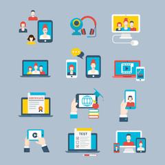 Flat Social network concept phone laptop communication vector