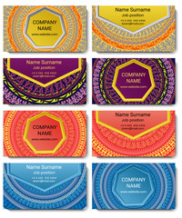 Set of vector visiting card with mandala. Geometric mandala pattern and ornaments. Front page and back page.