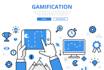 Linear flat GAMIFICATION infographics vector. Gaming, winning.