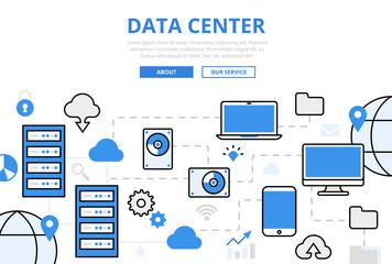 Linear flat DATA CENTER infographics vector Server, storage