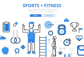 Linear flat SPORTS FITNESS infographics vector. Healthy life.