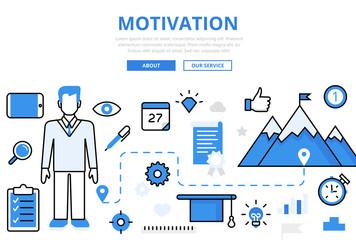 Linear flat MOTIVATION achievements infographics template vector
