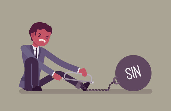Businessman chained with a giant metall weight with a title Sin trying to escape, sawing. Cartoon vector flat-style concept illustration