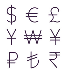Set of regular currency signs. Vector icons set