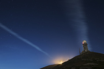 Radar towers on hilltop in Hong Kong