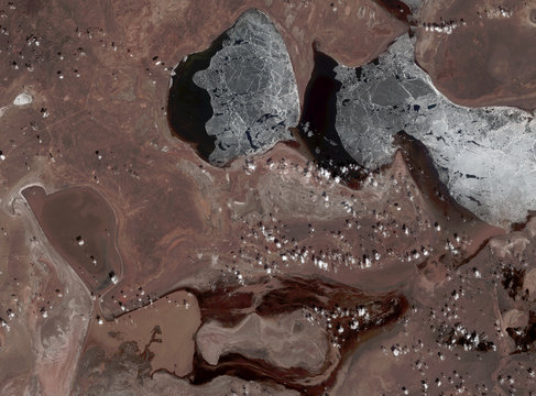 Aral Sea from Landsat satellite. Elements of this image furnished by NASA