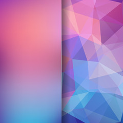 Geometric pattern, polygon triangles vector background in pink, blue tones. Blur background with glass. Illustration pattern