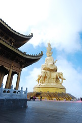 SICHUAN, CHINA - Mar 23 2016: Baoguo Temple in Mount Emei Scenic Area(World Heritage site). a famous historic site in Emeishan, Sichuan, China