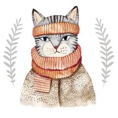 Cute cat in scarf