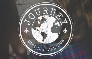 Jouney Travel World Stamp Concept