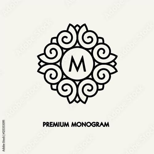 Conceptual template vector Square logo design and monogram concept in trendy linear style, floral badge