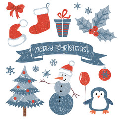 Christmas set. Vector collection of doodle Christmas and New Year cute design elements and characters. Holiday children drawings.