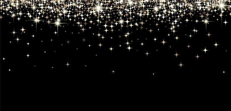 Black shining banner with stars.