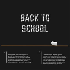 Poster educational back to school written with chalk on a blackboard. Vector