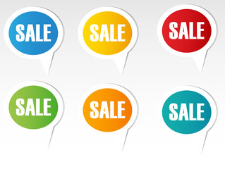 colorful sales speech bubbles set