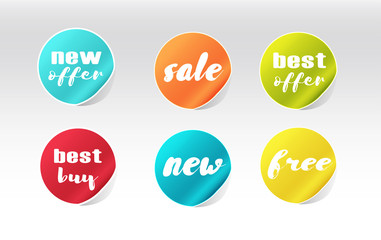 colorful sale stickers set