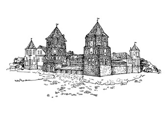 Famous Belarusian Castle. The medieval defensive castle. Castle building on the hill skyline etching. Hand drawn sketch vector illustration.