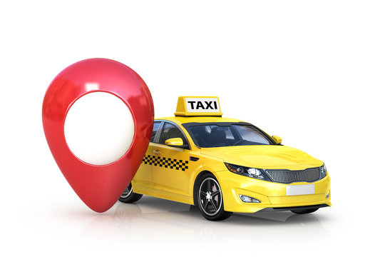 Taxi car on white background and red gps . 3d illustration.